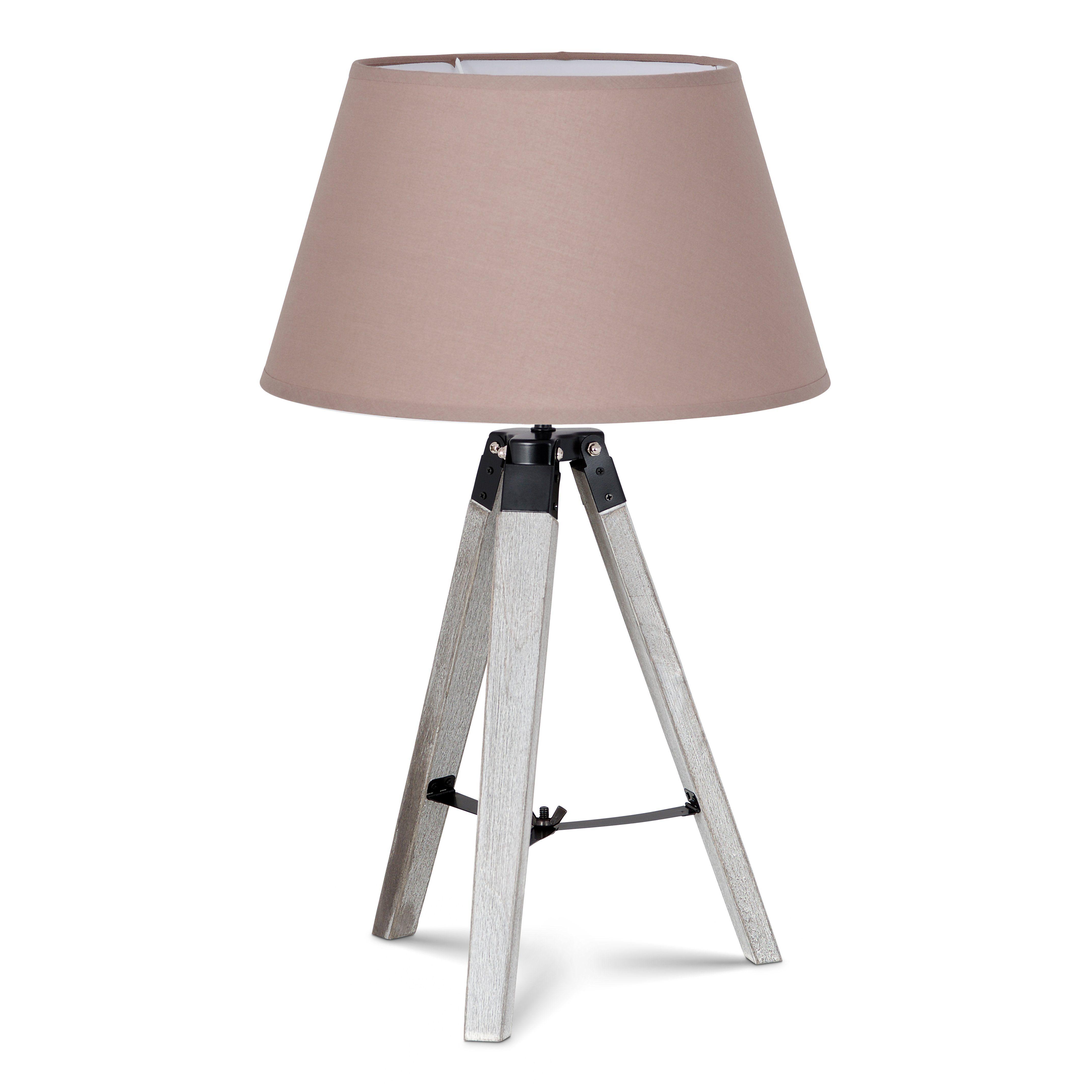 Home sweet home tafellamp Dia wit met lampenkap Largo - taupe