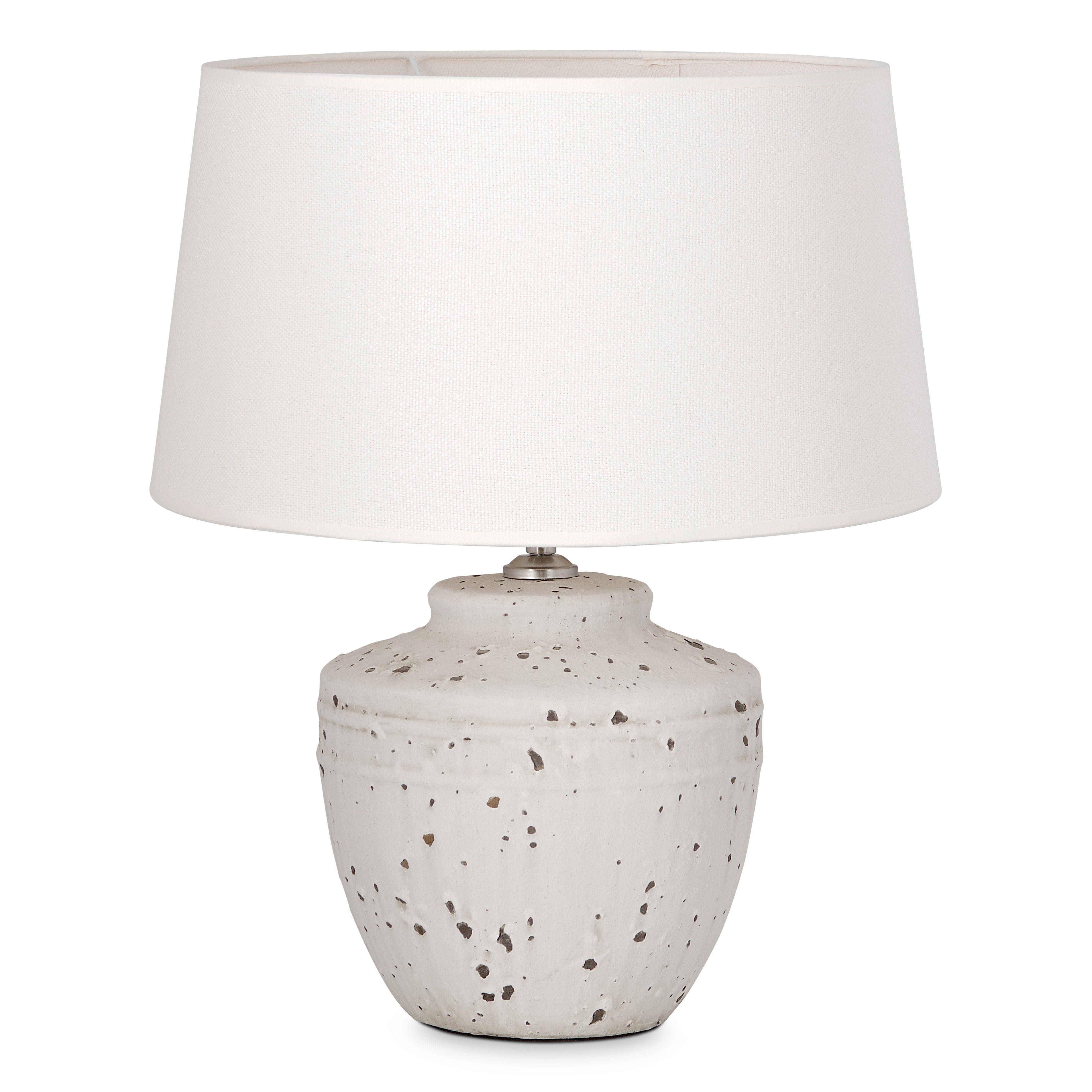 Home sweet home tafellamp Lina - beton - keramiek met lampenkap Melrose - warmwit