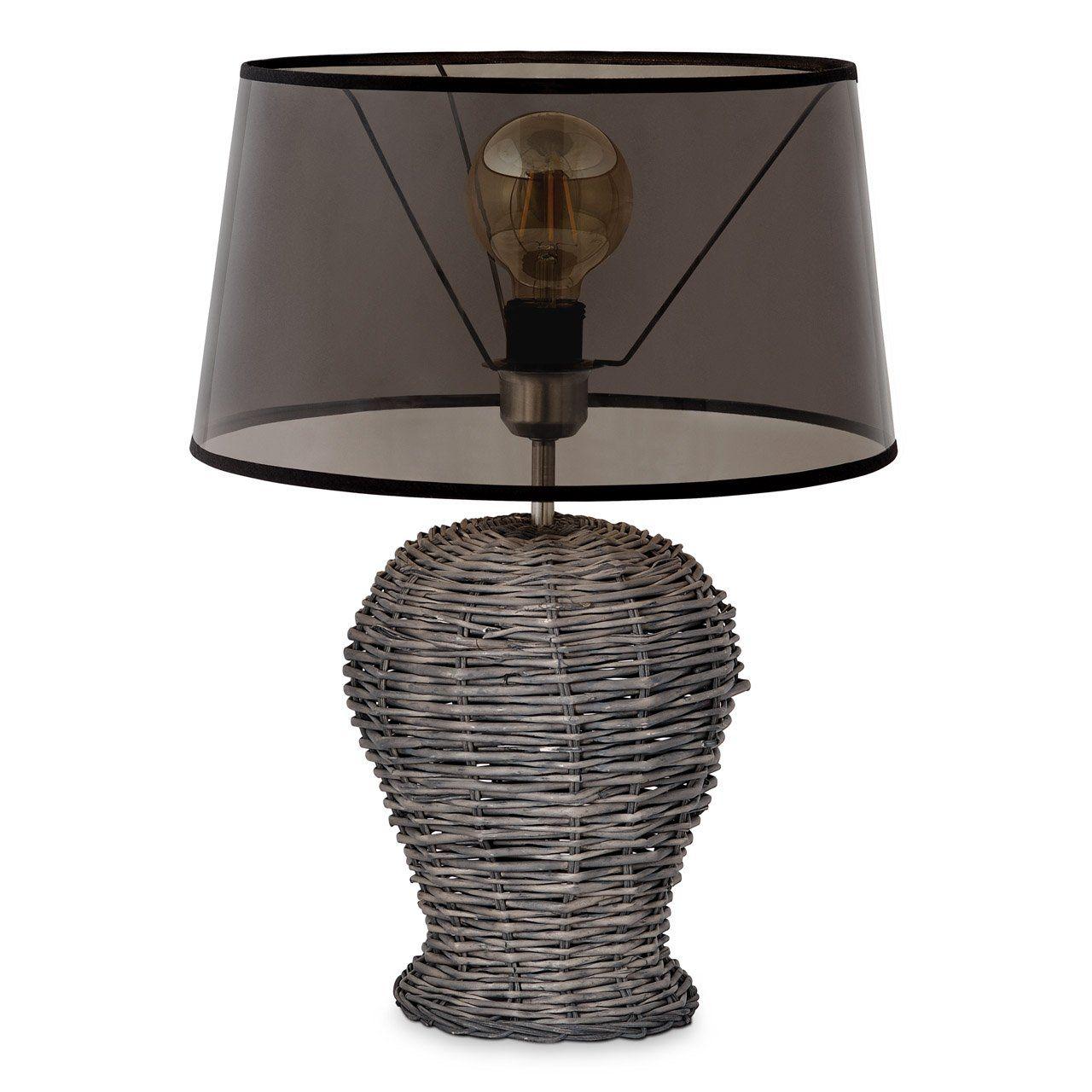 Home sweet home tafellamp Roseau met transparante lampenkap - smoke