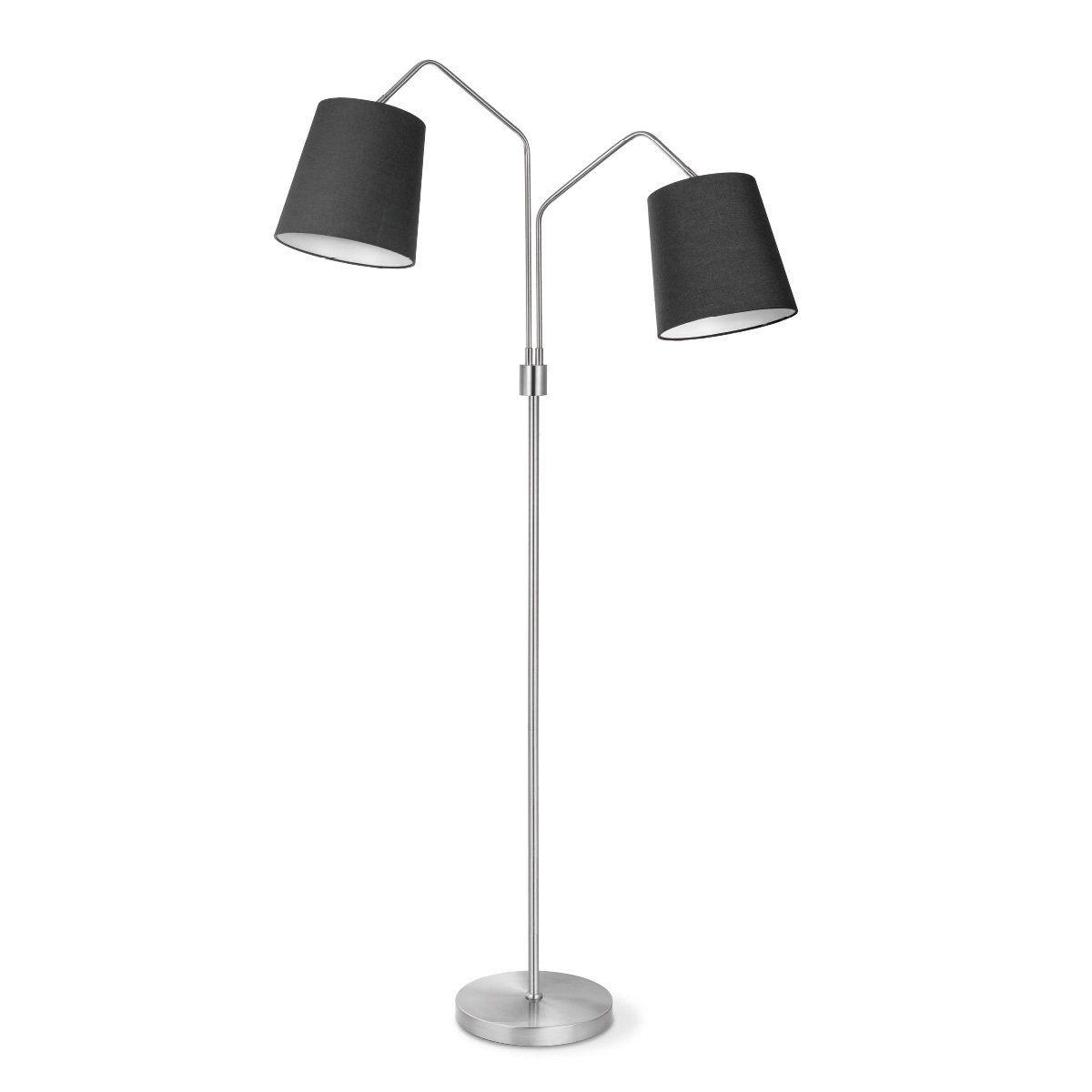 Home sweet home vloerlamp Flint 2 lichts - zwart - mat staal