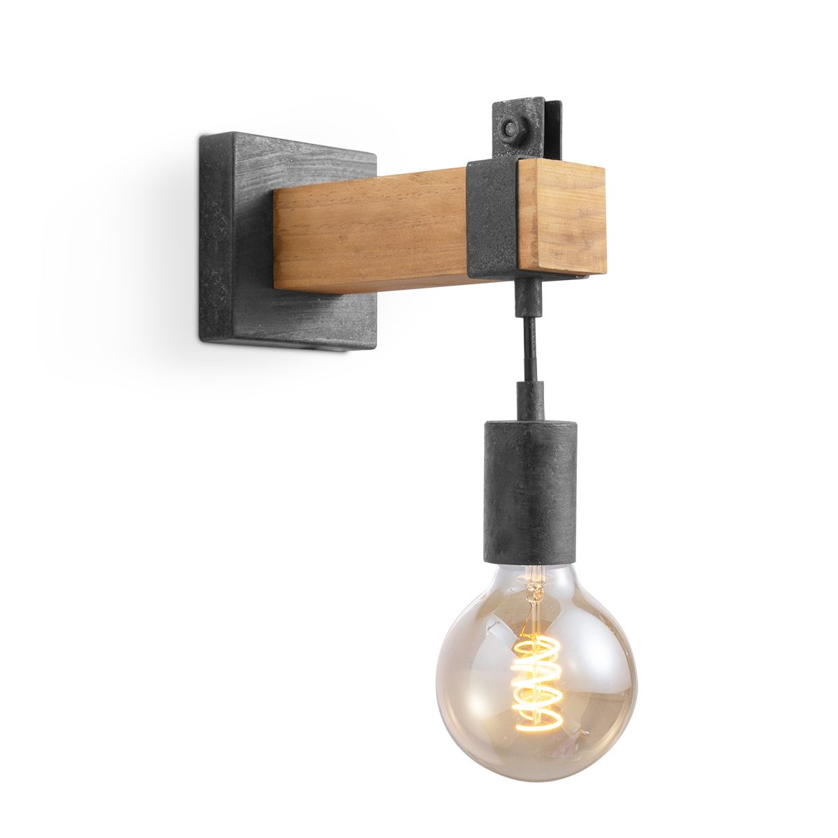 Home sweet home wandlamp Denton 1L - hout - burned metal