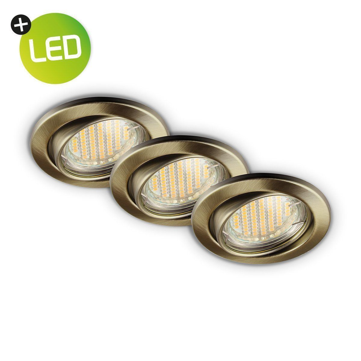 Home sweet home LED inbouwspot set Basic 3 x 3,2W Ø 8,2 cm - brons