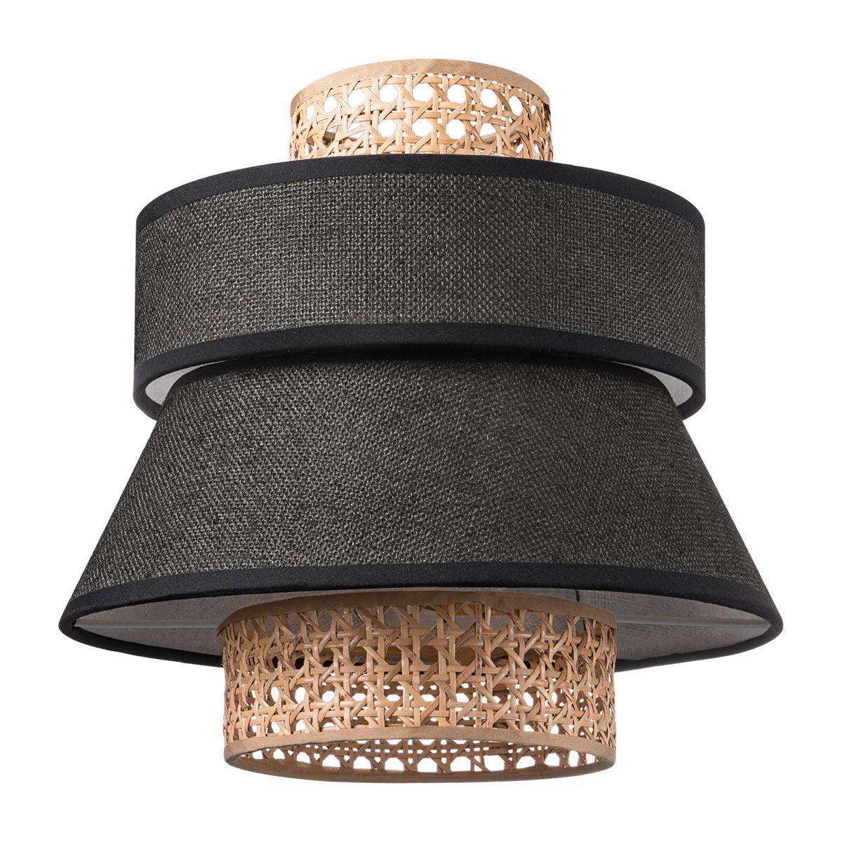 Home sweet home lampenkap Cane weave - linnen - zwart
