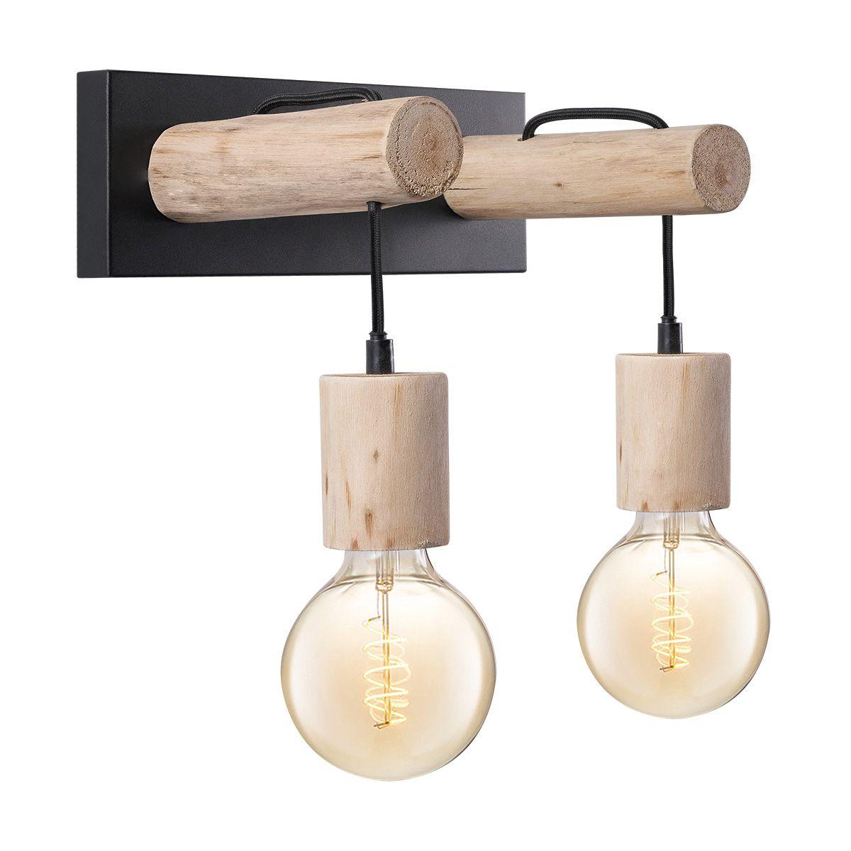 Home sweet home wandlamp Billy 2 lichts - hout - metaal